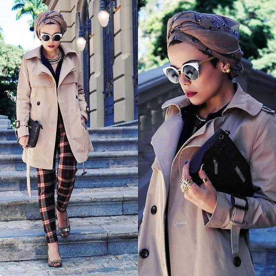 turban, trench coat, tartan
