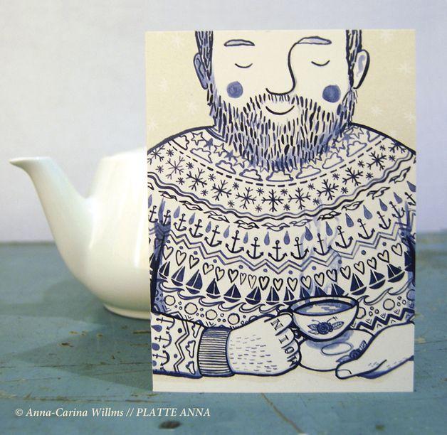Winterliche Grußkarte mit Umschlag: Illustration eines bärtigen Kapitäns mit einer Tasse Tee / greeting card with the illustration of captain with a cup of tea made by Platte Anna via DaWanda.com