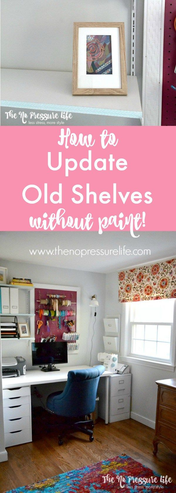 379 best office and craft room ideas images on pinterest office so easy update old shelves without paint use the same method for a quick