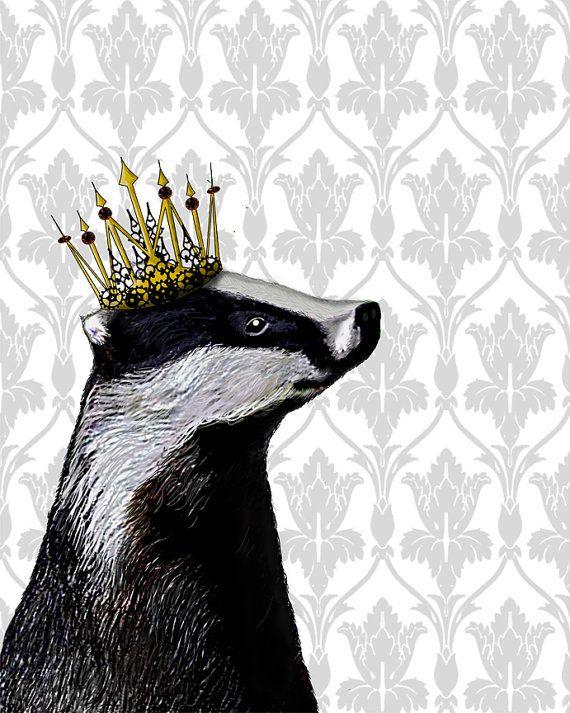 Badger King14x11 Art Print Digital Illustration Drawing Poster Digital Print Wall Art Wall Décor Wall Hanging on Etsy, £14.81