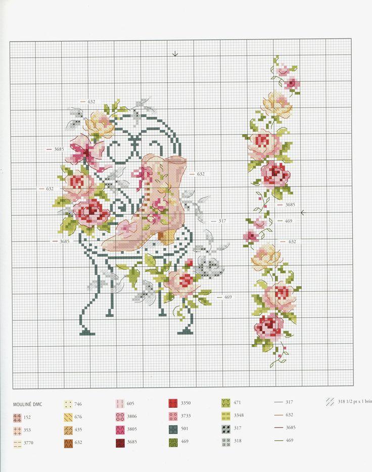 Flower chair cross stitch