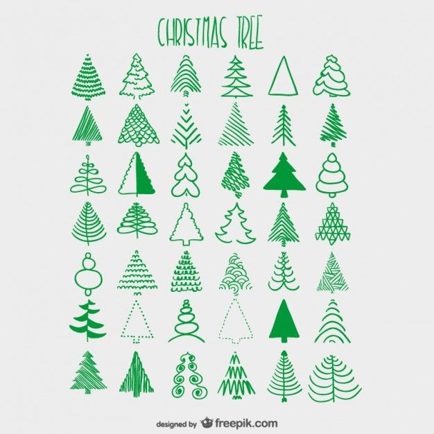 Christmas trees sketches collection | Free vector