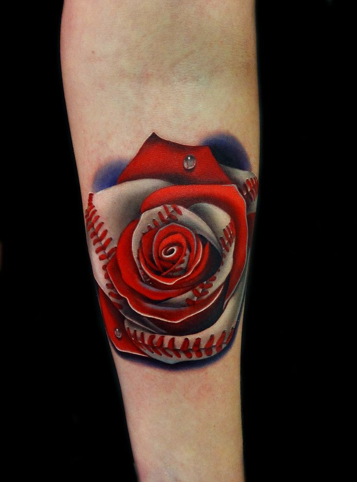 Not your typical rose, this Baseball Rose by Andres at acostattoo -Love it!