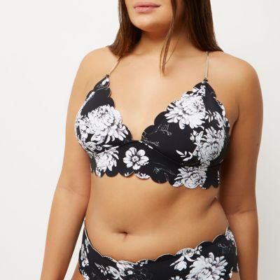 Plus Size Swimwear - Plus Size Womens black floral print scallop bikini (plus size) #plussizeswimwear #fatkini