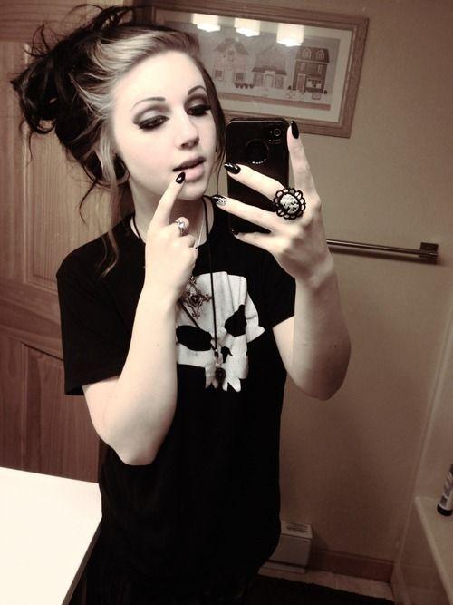 Goth girl, make up, brunette, nail art, skull