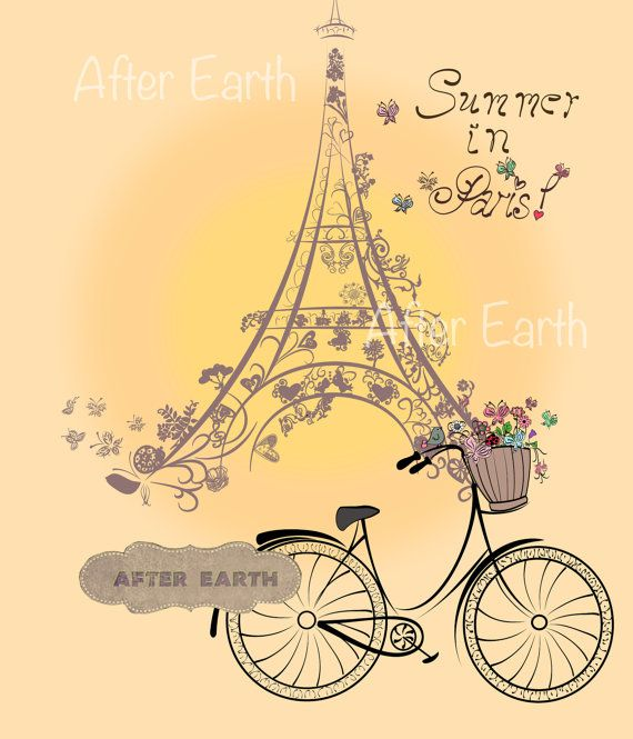Summer in Paris. Digital poster. Printable art. by AfterEarth