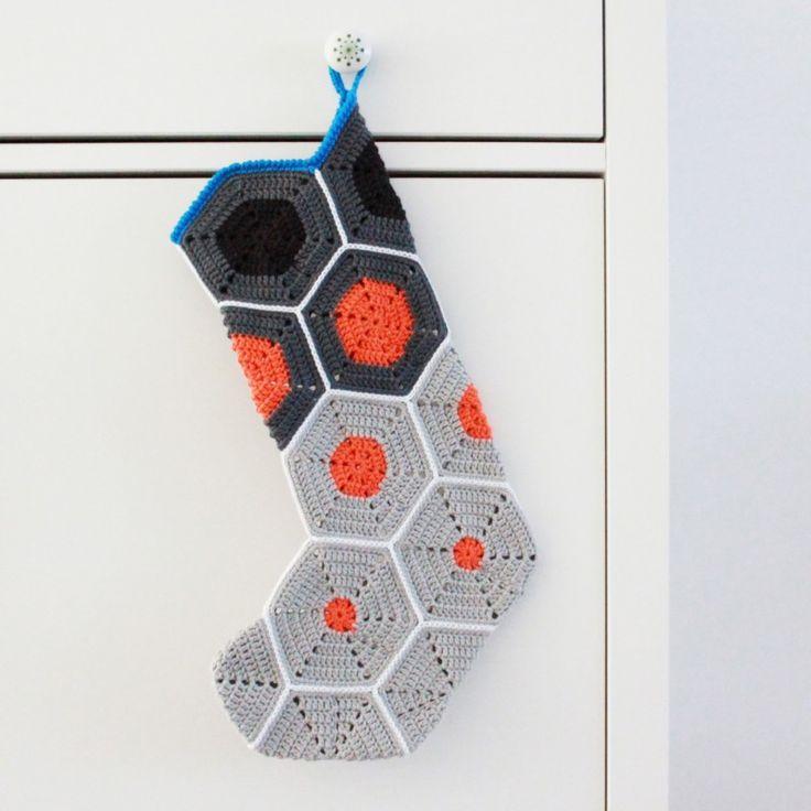 Opskrift på hæklet julesok / Pattern for crochet christmas stocking