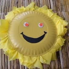 Sun paper plate! Simple to do!  You need: yellow tissue paper, yellow paint, glue, black construction paper, scissors, paper plate, and googly eyes.  First, use you r paint and paint the paper plate. Wait til the paper plate dries and glue cutten strips of tissue paper all around the rim of the plate. Next, cut a mouth in black construction paper. Finally, glue the mouth and eyes where they belongs and let it dry. Your done!