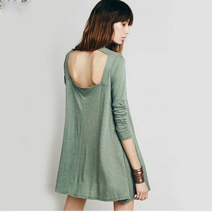 2016 New Fashion Europe And American Style Women Sexy Dress Backless Casual Street Style Solid For Autumn Women Dress