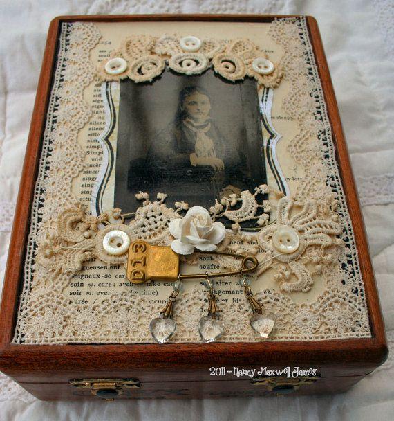 Vintage Tin Type altered cigar box