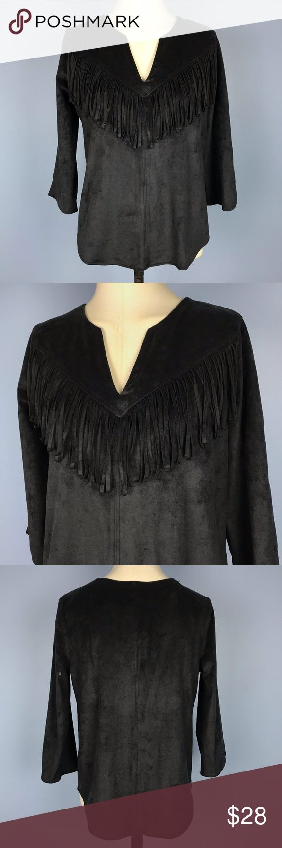"""Express Black Faux Suede Fringe Blouse Top Small Express Women's Top Size S Faux Suede Fringe Blouse Black  Measurements were taken on one side with garment laid flat.  Sleeve (shoulder seam to the end of the cuff): 18""""  Chest (Armpit to armpit): 19""""  Length (Base of neck to the bottom hem): 23.5"""" Express Tops Blouses"""