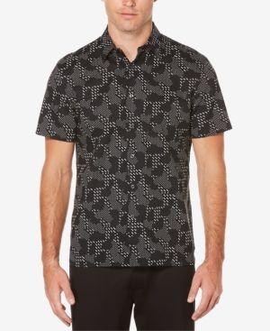 Perry Ellis Men's Big & Tall Digital Camo Shirt - Black 2XLT