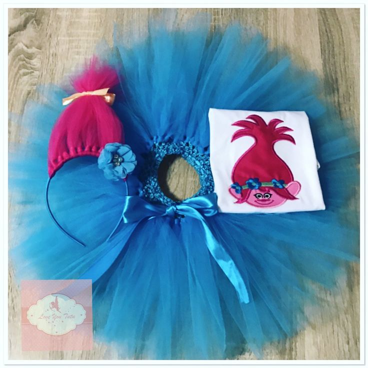 Embroidered Princess Poppy troll face tutu set