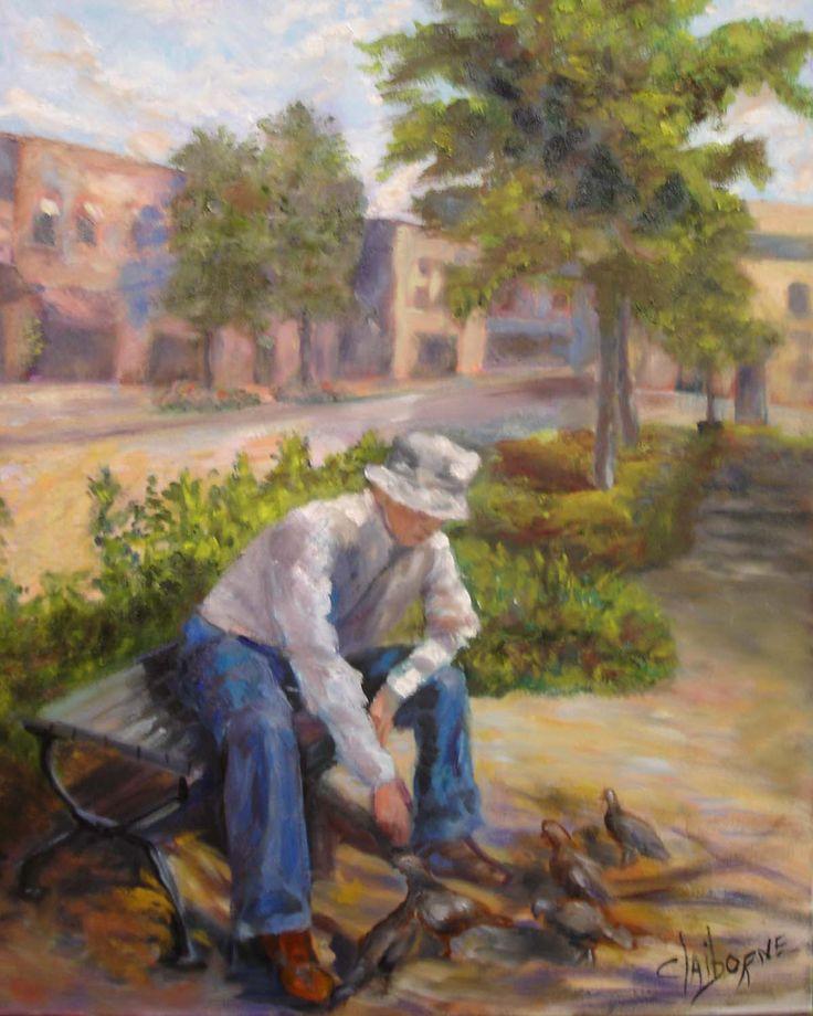 "Older Man feeding pigeon's sitting on a bench with small town street in the background  ""Feeding Pigeons""  20 x 24 Oil on Canvas  $450.00 www.claibornerscorner.com  claibornescorner@aol.com"