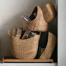Love the large curved basket, West Elm, but Ballard Designs has it for only $35, quite similar.