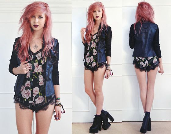 Drop Dead Deathbeds Jacket, Missguided Floral Lace Playsuit, Ark Clothing Chunky Cleated Boots