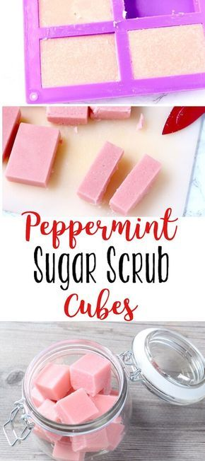 These peppermint sugar scrub cubes smell great and leave skin so soft... and they're cleansing too!
