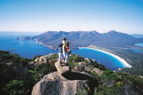We hiked here to look down on Wineglass Bay... awesome hike Tasmania