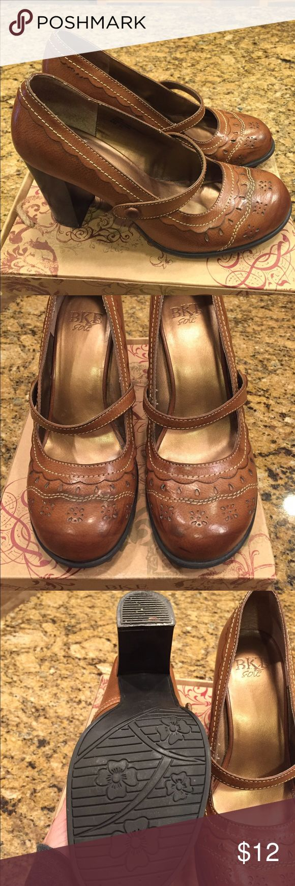 Women's Mary Jane Heels BKE women's Mary Jane heels. Man made material. Not Leather. Wood heel. Excellent condition. BKE Shoes Heels