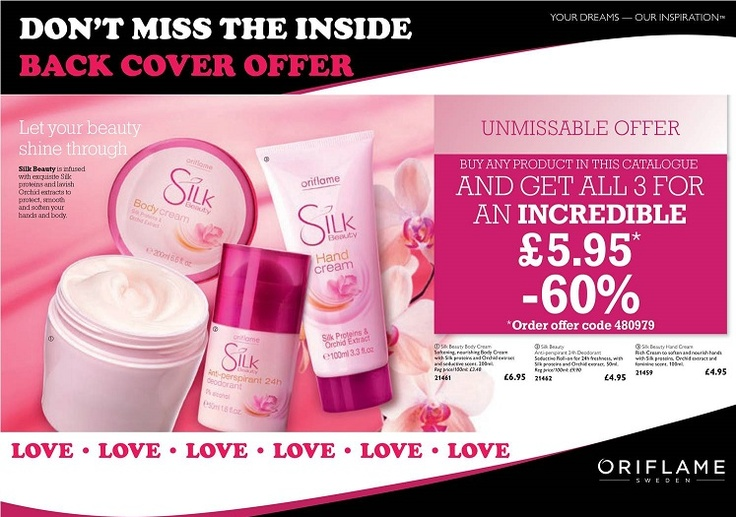 SILK BEAUTY OFFER  Another un-missable offer this Catalogue has to be the incredible back page offer from the Silk Beauty Range. Simply buy any other product in the Catalogue and you will qualify to get all 3 Silk Beauty products for just £5.95 , that's amazing value, a whopping 60% off and you'll get the nourishing body cream, hand cream and roll on deodorant, which I happen to know smells lovely and feels great under the arms.