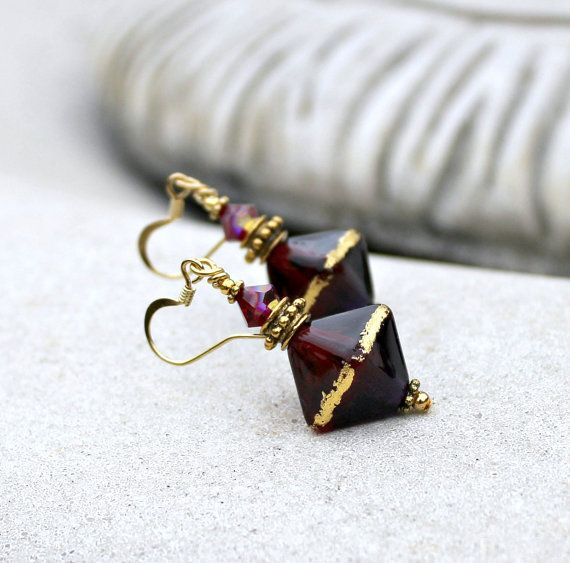 Dark Purple and Ruby Lampwork Drop Earrings, Handmade Glass, Antique Gold