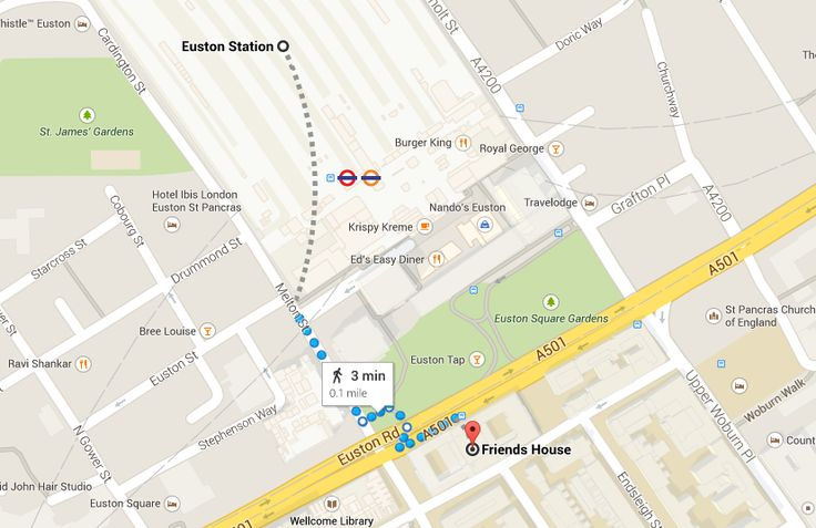 The route from Euston train station to Friends House.