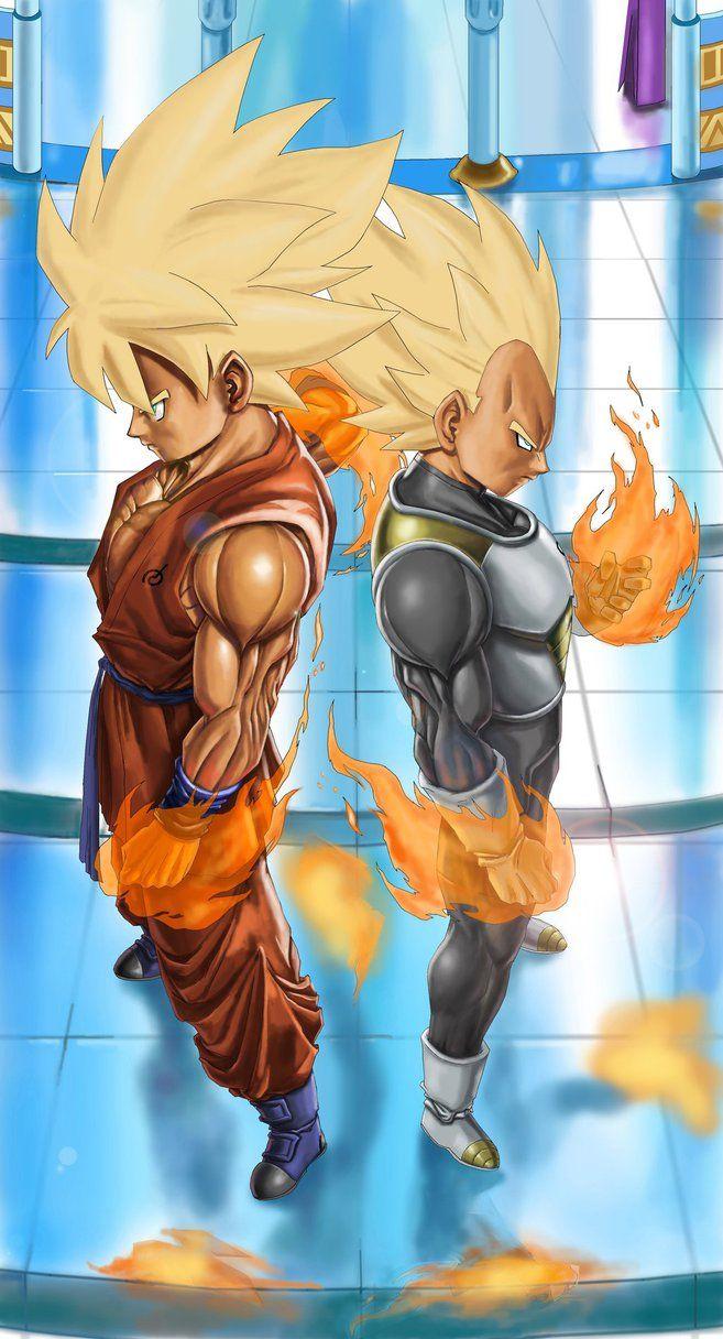Goku and Vegeta SSJ in Whis Uniform by NovaSayajinGoku