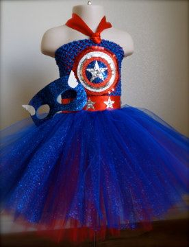 Made to order. Captain America tutu dress costume. Red,Royal blue and silver . Great for Birthday parties, Halloween, photo shoots or even dress up. on Etsy, $57.00