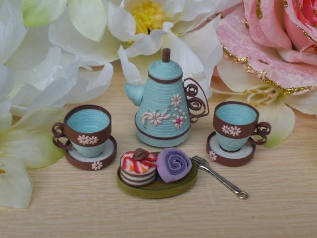 296 best miniatures of all kinds quilled images on for Quilling kitchen set