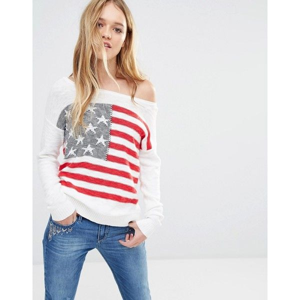 Hollister Americana Off Shoulder Flag Knit Jumper ($44) ❤ liked on Polyvore featuring tops, sweaters, multi, american sweater, off-the-shoulder sweaters, off shoulder knit sweater, off the shoulder knit sweater and off the shoulder tops