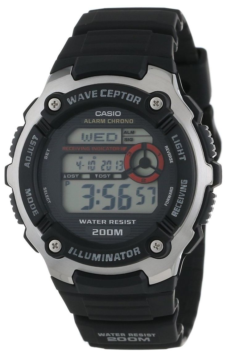 Casio WV200A-1A Mens Resin Band World Time Multi Band Atomic Watch