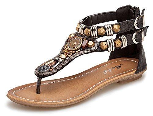 Oferta: 10.93€. Comprar Ofertas de Minetom Mujer Verano Roman T-Correa Sandalias Diamante De Imitación Chanclas Sólido Cremallera Plana Con Tanga Zapatos Negro barato. ¡Mira las ofertas!
