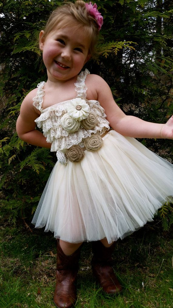 Rustic flower girl dress cream ivory tutu rustic flower for Country girl wedding dress