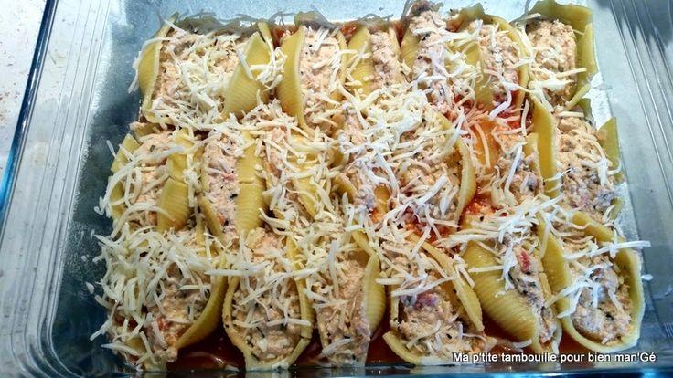 Ma p'tite tambouille pour bien man'Gé: Conchiglionis farcis au poulet et à la tomate (Thermomix ou non)