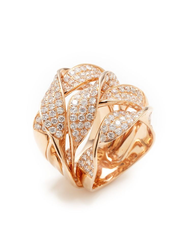 Rose Gold & Diamond Twisted Multi-Band Ring by Vendoro at Gilt