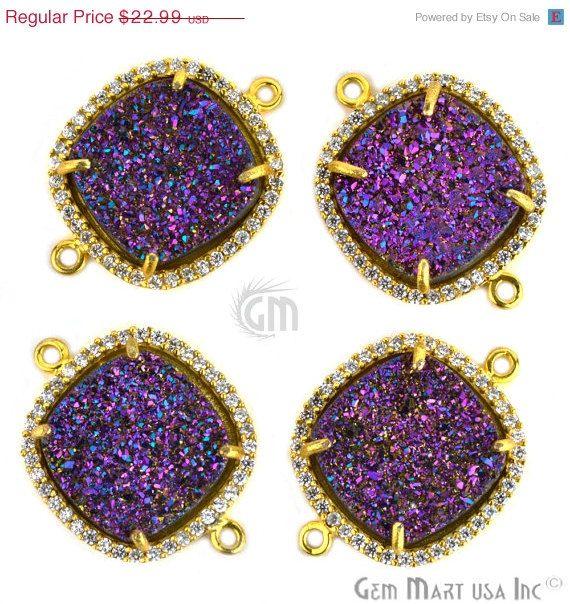 18% OFF 1pc Purple Druzy 18x25mm Rhine Stone Pave by GemMartUSA