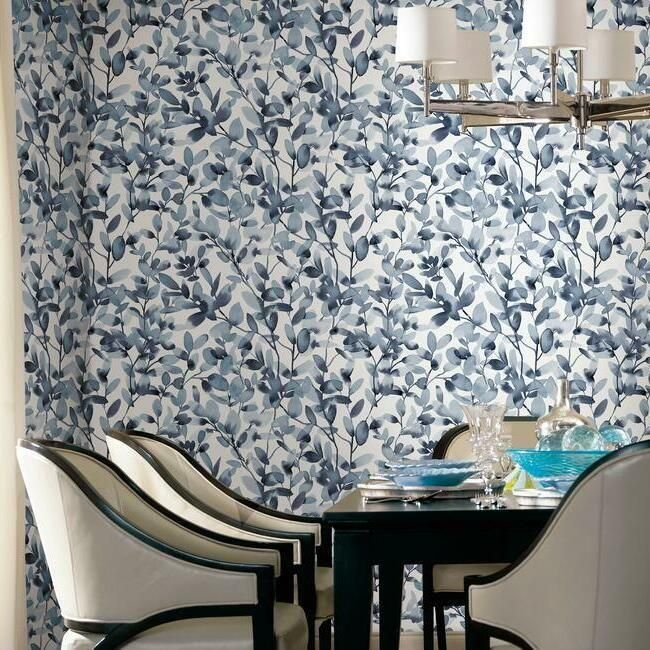 Botany Vines Peel Stick Wallpaper In Blue By York Wallcoverings Peel And Stick Wallpaper Wallpaper Roll Wallpaper