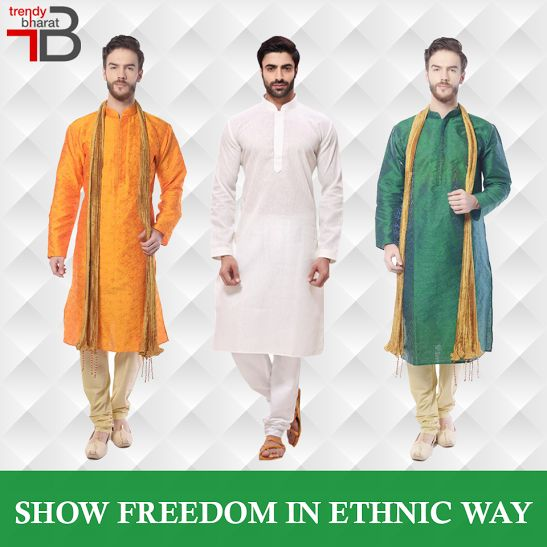 Stay in touch with the Indian connection this Independence Day by availing the best of men's ethnic wear at amazing prices. Have a wonderful shopping experience  #mensethnicwear #mensfashion #onlinemenkurta #tricolouredkurtas  Shop here-  https://trendybharat.com/men-fashions/ethnic-wear/kurtas