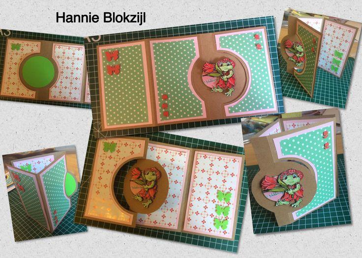 Opkikkerkaartje met mal van Dutch Doobadoo. Op mijn bord zelfgemaakte kaarten staan nog twee versies van dit model. @Hannie Blokzijl