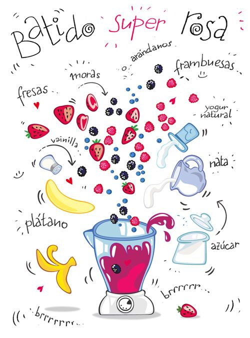 Batido ANTI-OXIDANTE super rosa: plátano, vainilla, fresas, moras, arándanos, frambuesas, yogur natural, nata y azúcar