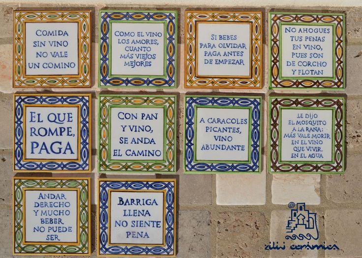 Azulejos de 15x15cms realizados sobre cubierta para la Tasca La Romanera, a modo de decálogo para disfrute del buen yantar y los buenos caldos.