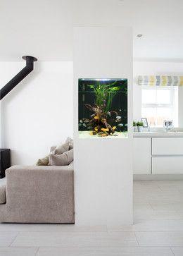 Modern White Gloss U0026 Driftwood Kitchen With Fish Tank   Contemporary    Kitchen   Other Metro
