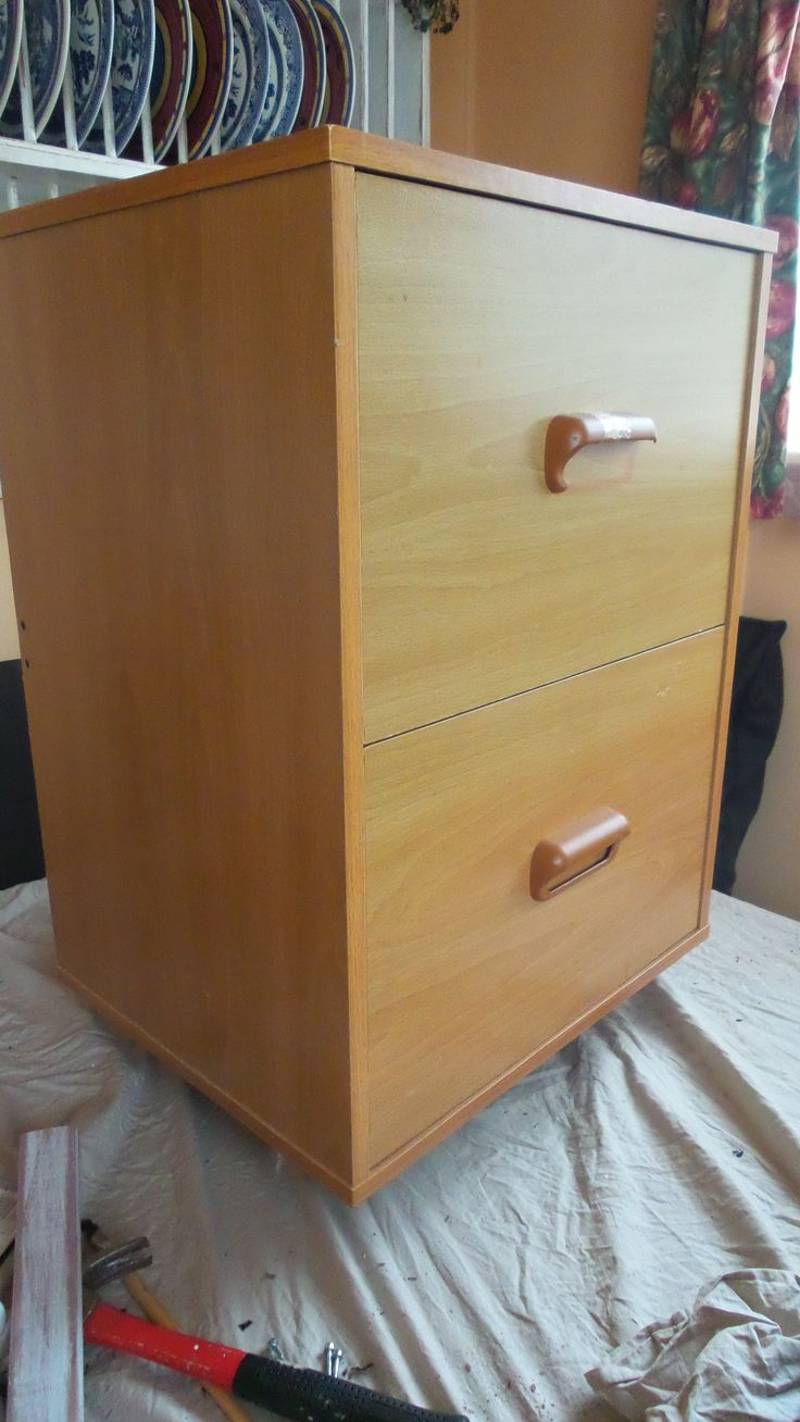 my old boring file cabinet needing a spruce up