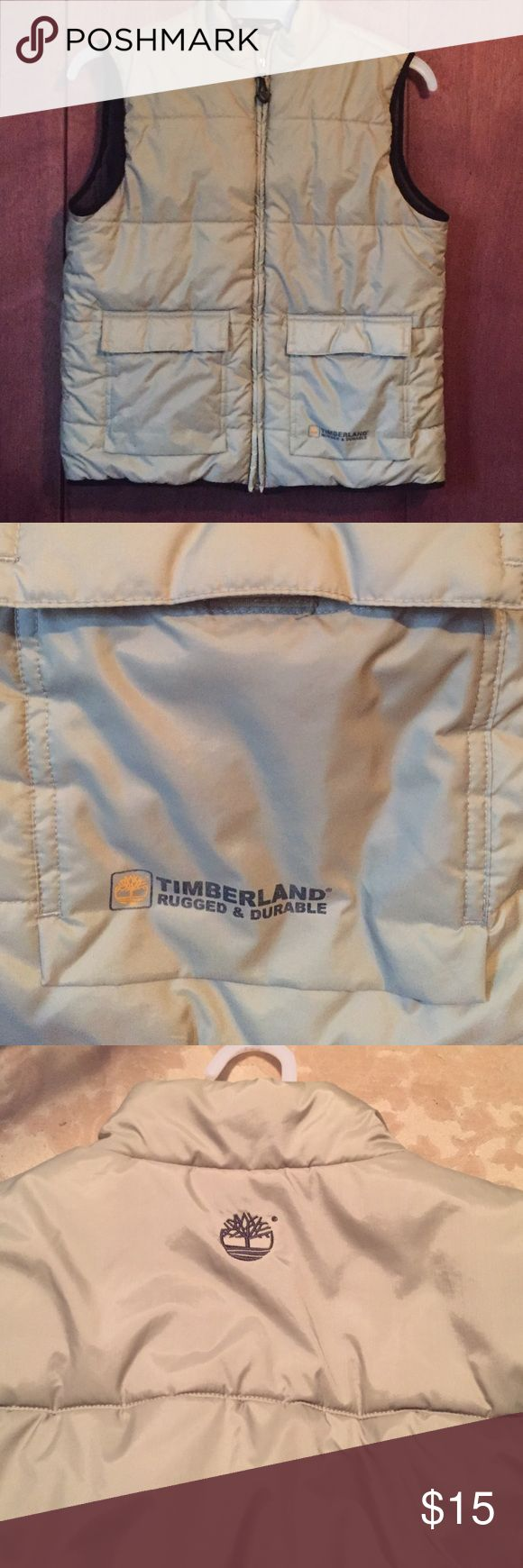 Boys Timberland beige zip up vest sz L Boys size large Timberland beige zip up vest two front velcro pockets inside is soft gray fleece excellent condition Timberland Jackets & Coats Vests
