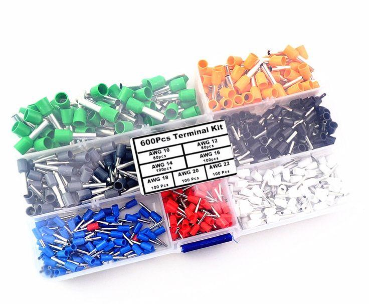 600 Stücke Insulated Cord Endklemme Schnürsenkel Cooper Aderendhülsen Kit Set Draht Kupfer Crimp Stecker