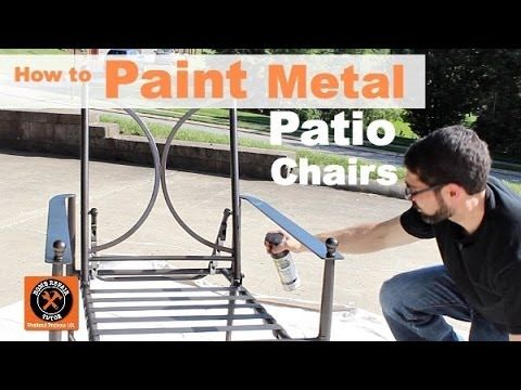 How to re-paint Metal Patio Chairs by Home Repair Tutor. It doesn't take long for outdoor furniture to start looking worn. Give it new life for just a few dollars. Watch the tutorial here and see what other colors and finishes are available in Rust-Oleum Universal Spray Paint http://www.rustoleum.com/product-catalog/consumer-brands/universal