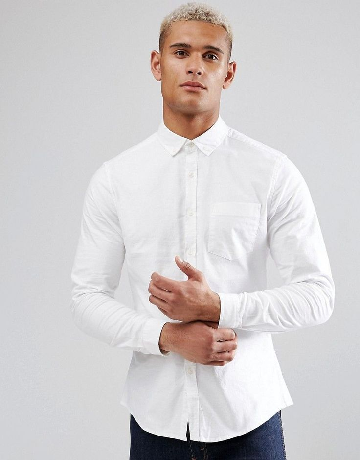 ASOS Casual Slim Oxford Shirt With Stretch In White - White