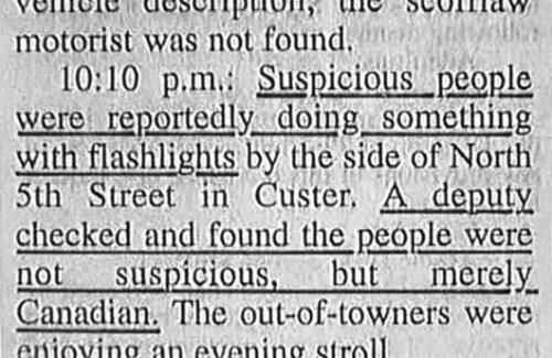 funny news article people doing something with flashlights people not suspicious but just Canadian