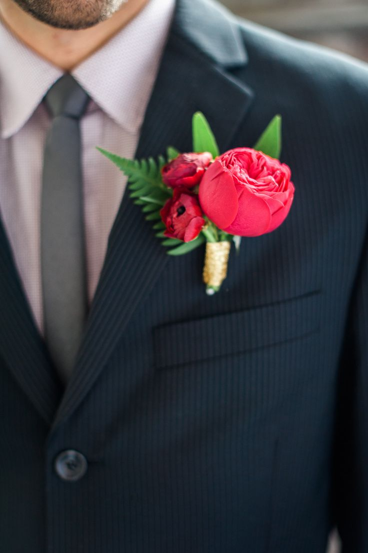 #Boutonniere || On Style Me Pretty: http://www.StyleMePretty.com/northwest-weddings/2014/02/13/valentines-day-elopement-inspiration/ Photography: Brittany Lauren Photography