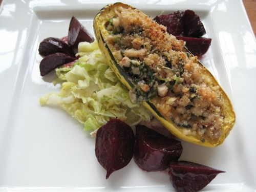 Roasted Delicata Squash Stuffed with White Beans, Greens & Sage